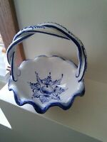 Vintage Blue White Ceramic Bowl with Twisted Handle RCCL 1988 made in Portugal H