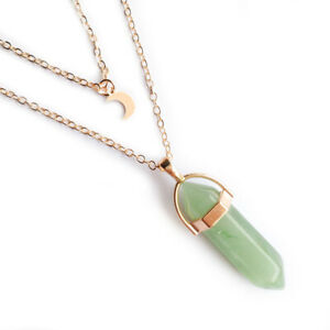 Moon Layer Gemstone Pendant Necklace Choker Natural Quartz Crystal Healing Stone