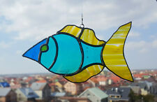 Stained Glass Suncatcher Blue-Yellow Fish  Handmade