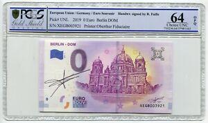 2019 0 Euro Souvenir Oberthur Berlin DOM hand signed Richard Faille PCGS 64 OPQ