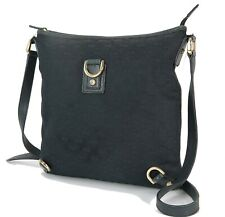 Authentic GUCCI Black GG Canvas and Leather Shoulder Bag Purse #33912C