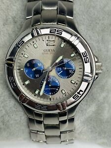 Men's Guess Waterpro G85432G CHronograph Silver Tone Watch New Battery