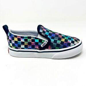 Vans Slip On V (Iridescent Check) Black White Toddler Baby Shoes