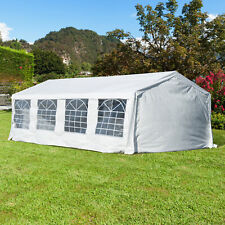 Outsunny 8m Gazebo Garden Marquee Canopy Party Carport Shelter Garage Tent White