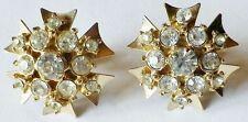 boucles d'oreilles ancienne à vis bijou couleur or cristaux diamant *4392