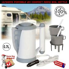 12v PORTABLE ELECTRIC KETTLE WITH CUPS FOR CAR CARAVAN BOAT CAMPING TRAVEL
