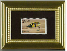 JOCK SOCK FLY FISHING LURE  A GLASS FRAMED COLLECTIBLE POSTAGE MASTERPIECE
