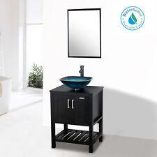 "24"" Bathroom Vanity Mirror Square Vessel Sink Set Top Table Faucet Drain Combo"
