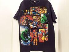 VINTAGE MARVEL SUPER HEROS GLITTER T-SHIRT(LARGE)SPIDERMAN-WOLVERINE-MORE-RARE