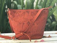 JL SALDIVAR Red Handcrafted Tooled Leather Bag Cross Body Shoulder Purse Handbag
