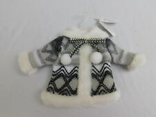 Holiday Lane Faux Fur Winter Coat/Knit Sweater Christmas Tree Ornament #7665