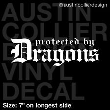 "7"" PROTECTED BY DRAGONS vinyl decal car window laptop sticker - got celtic"
