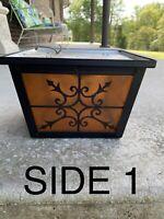 Vintage Outdoor Porch Amber Glass Ceiling Flush Mount Light Fixture