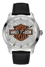 HARLEY-DAVIDSON® MEN'S BAR & SHIELD DIAMOND PLATE STAINLESS STEEL WATCH 76A145