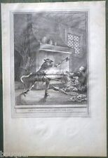J.-B. OUDRY - LA FONTAINE FABLES Villageois & Serpent Gravure ORIGINALE 1755-59