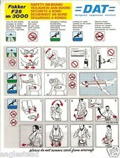 Safety Card - DAT - F28 3000 - 1993 (Belgium) (S2967)
