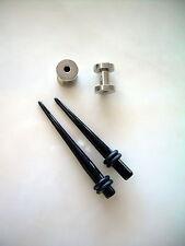 Pair 6g Black Acrylic Tapers & Pair Steel Screw Tunnel Plugs Ear 6 Gauge z