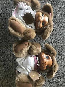 Raikes Original Bunny's Boy & GIrl Wood Face New With Tags Easter