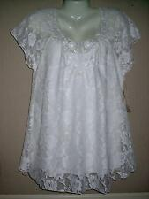 PLUS 1X LACE SHELL Babydoll Top STRETCH Special Occasion Evening EMBROIDERY NWT