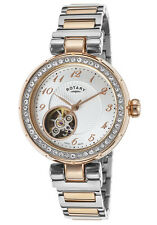 Rotary Jura Women's Swiss Made Automatic Open Heart Watch $2550 NEW