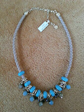 Lizas Jewellery Statementkette golden türkisfarben Leder Magnesit