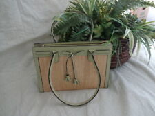 Unbranded Lime Green & Beige Straw Structured Handbag Purse - P012