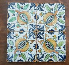 4 antique Dutch Delft Polychrome Tiles Pomegranate Grapes Fleur-de-Lis corners