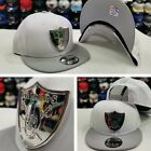 New Era Silver Metal Badge Shield NFL Oakland Raiders Snapback hat White / Black