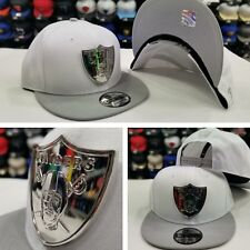 New Era Silver Metal Badge Shield NFL Oakland Raiders Snapback hat White / Black
