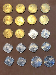 BHUTAN 1974,1975 SET OF 20 COLLECTIBLE COINS 5,10,20(F.A.O)CHETRUMS ~KM#37,39,43