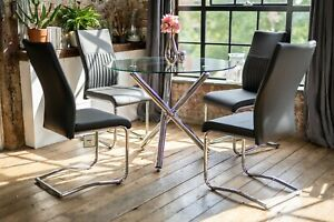 Maia Luxury Glass Dining Table Set with 4 Cyra Black Chairs Round