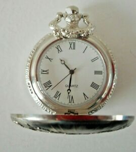 Mens White Metal Quartz Pocket Watch Depicting Stonehenge BNIB