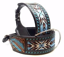"18"" BEADED TURQUOISE BLACK MADCOW BUCK STITCHED BULLY STYLE LEATHER DOG COLLAR"