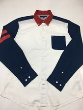 TOMMY HILFIGER  MEN'S SHIRT NAVY BLUE AND WHITE SIZE LARGE