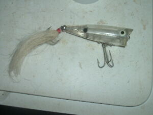Old Fishing Lures Vintage Heddon Tiny Chugger RARE Color Clear Teaser Tail LOOK