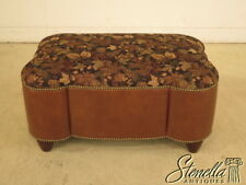 39868: Custom Upholstered & Leather Ottoman w. Tack Head Trim ~  NEW
