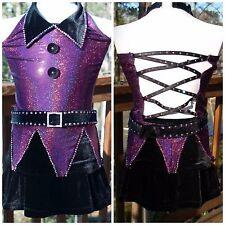 NEW Custom Jazz Tap Dance Competition Costume Purple Black Child Medium CM 8 10