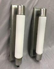 Vtg Chrome Brass Sconce Pair Cylinder Milk Glass Shades Art Deco Light 148-18J