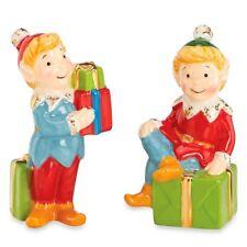 Gorham Kathy Ireland Once Upon A Christmas Santa Elf Salt & Pepper Shakers New