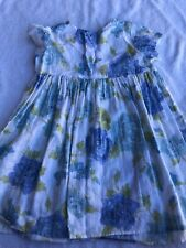 Baby LuLu girls 4T dress white blue floral dressy school portraits church summer