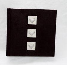 Jet Black Velvet Pearl Love Hearts 100 Slip Sleeve Photo Album Gift Wedding