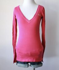 HOLLISTER Abercrombie V Neck Stretch Fitted Long Sleeve Knit Shirt Top Blouse S