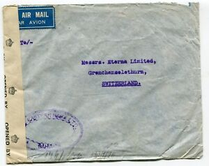 Bahrain WWII double-censored airmail cover to Grenchen Switzerland 19-7-1943