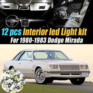 12Pc Super White Car Interior LED Light Bulb Kit for 1980-1983 Dodge Mirada