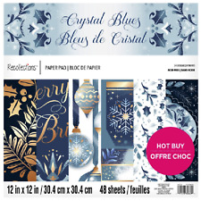 """Crystal Blues 12"""" x 12"""" Paper Pad By Recollections New Christmas Scrapbooking"""