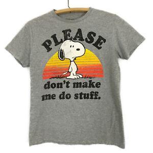 Snoopy Peanuts Gray T Shirt Sunset sz S Please Don't Make Me Do Stuff Graphics