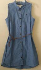 H&M Girls Blue Buttoned Down Sleeveless Dress Size 11-12 New!!