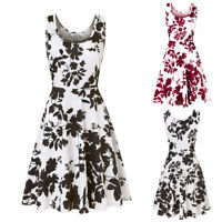 NEW Vintage Womens Print Sleeveless Swing Skater A-line Ladies Casual Paty Dress