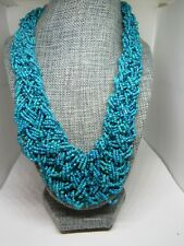 Turquoise color beaded braided bib collar necklace chunky beachy boho glass bead
