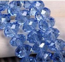 6x8 mm, bleu Transparent , naturel facetté cristal , perles lâches , 68 pcs